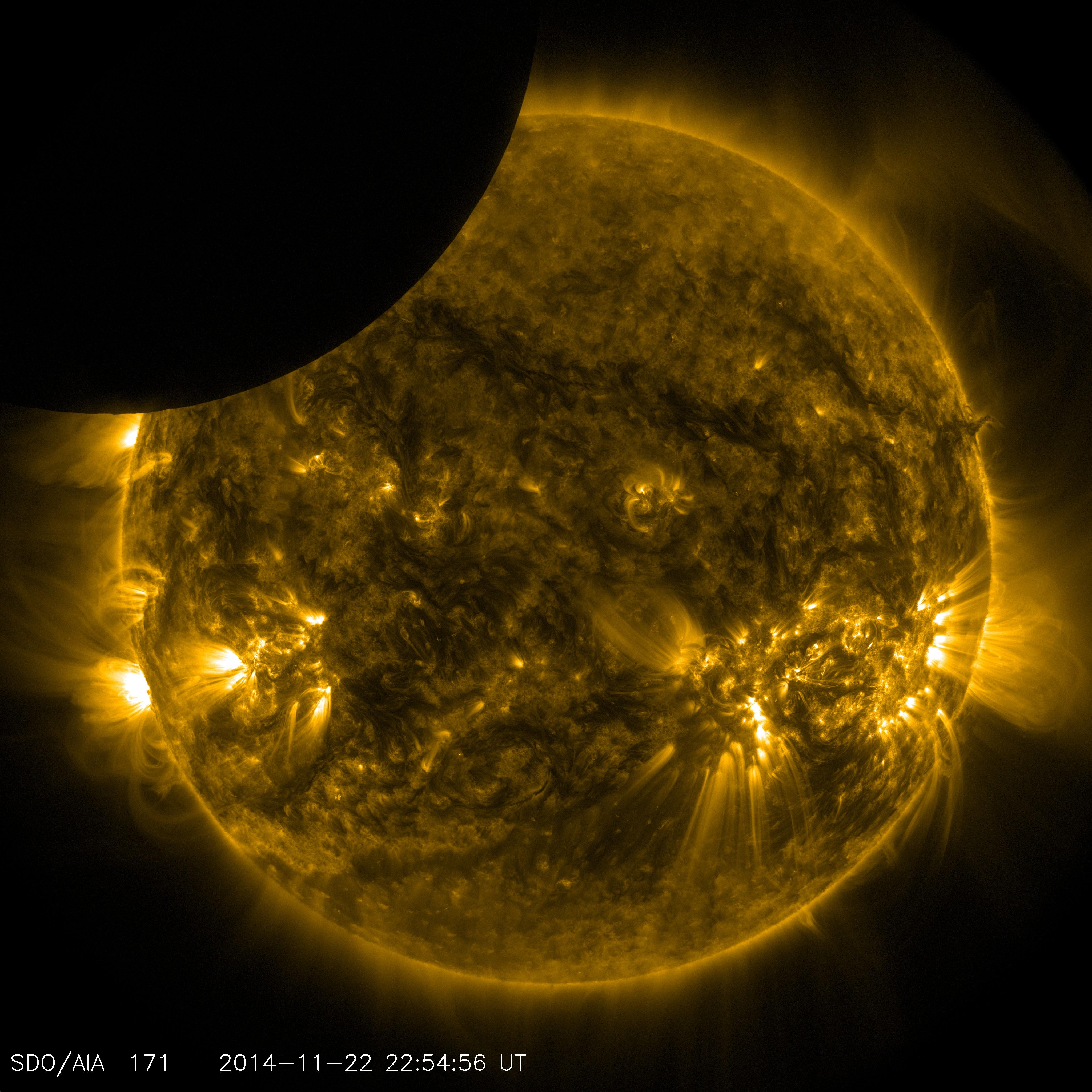 SDO Shows Moon Transiting the Sun   NASA
