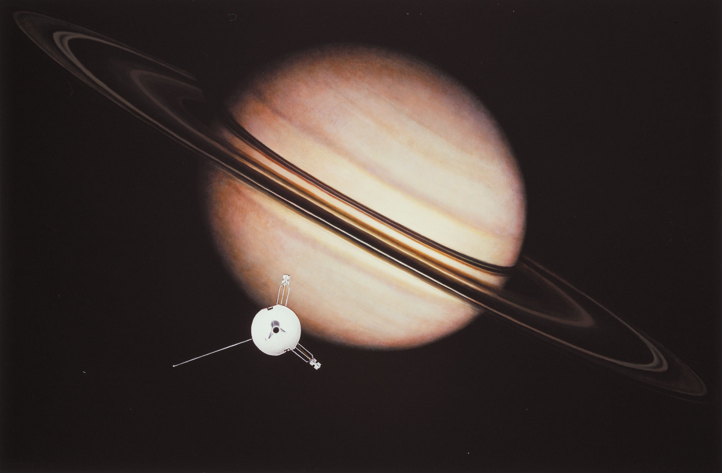 Pioneer 11 Image of Planet Saturn 1979 Titan Moon Historic Planet Saturn PHOTO