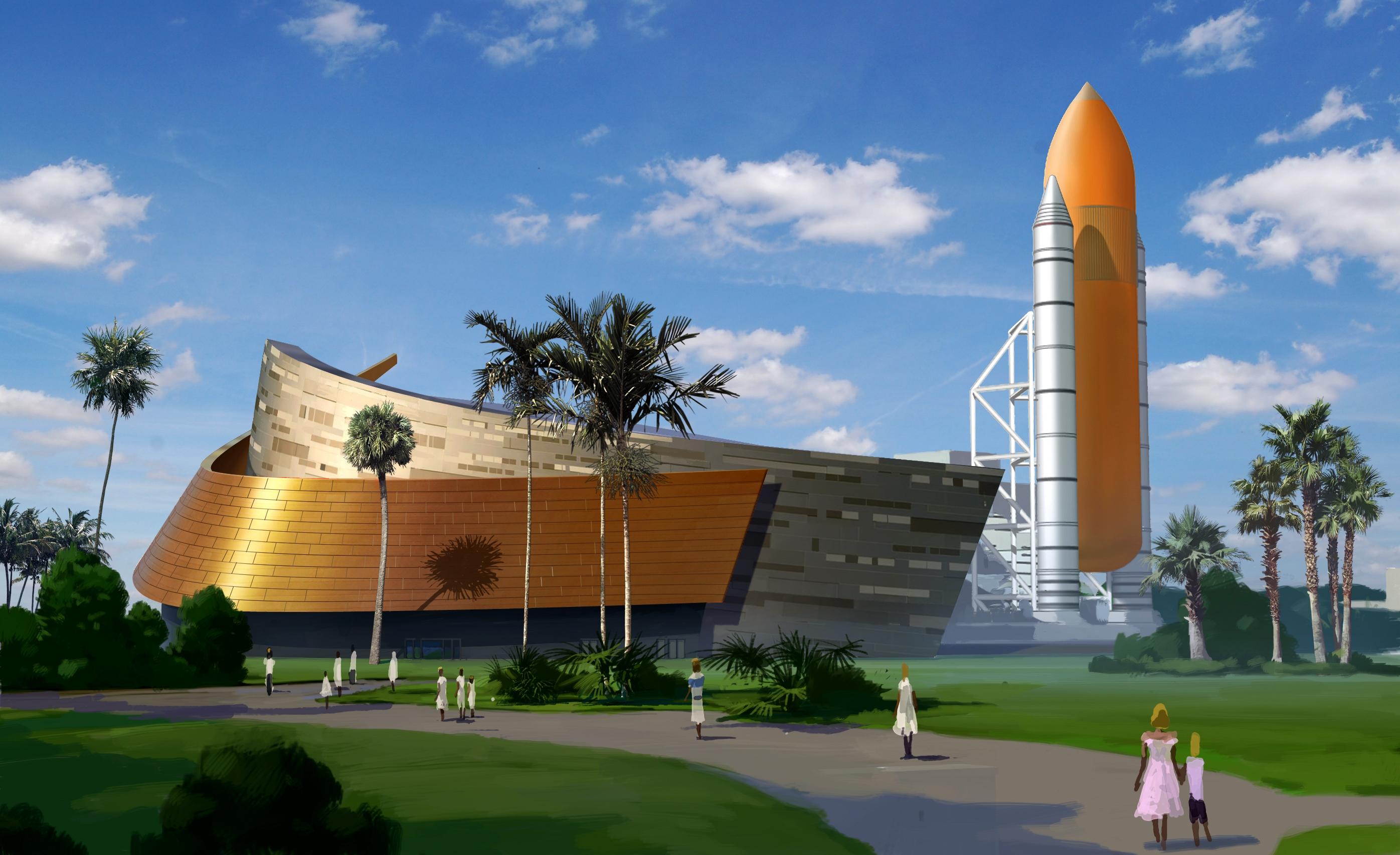 Na nasa new space shuttle design - Atlantis_exhibit_exterior Full Jpg