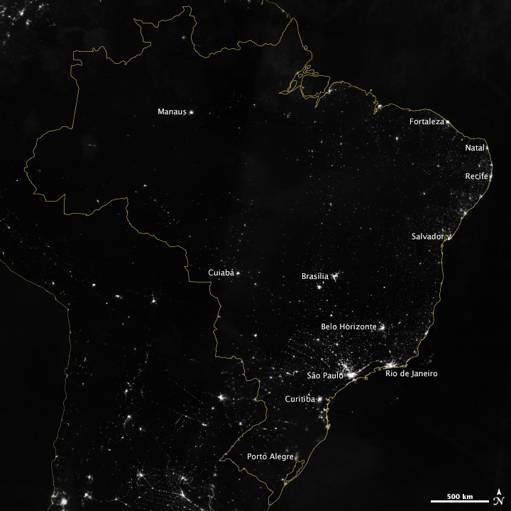 Night view of world cup host brazil from space nasa brazil at night from suomi npp gumiabroncs Image collections