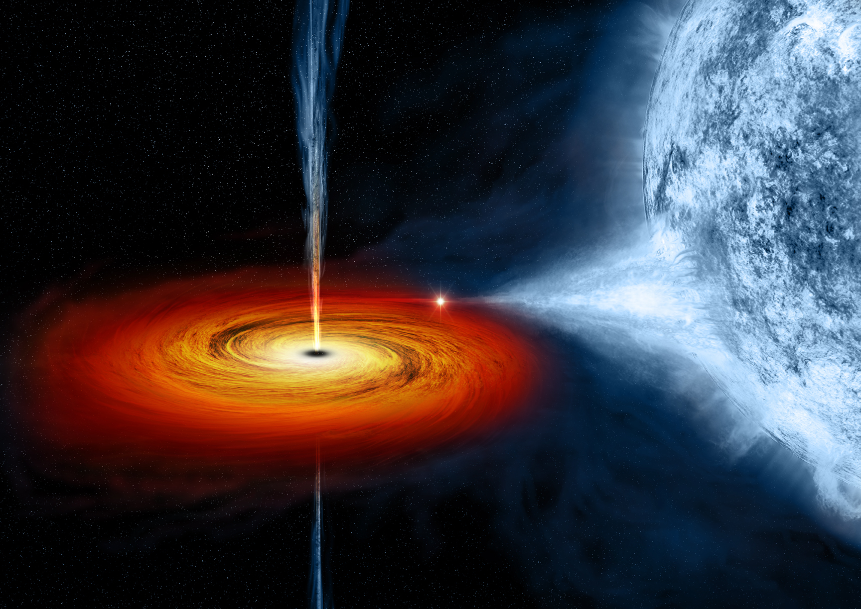 star caved in  This black hole pulls matter from blue star beside itNasa Black Hole Eats Star