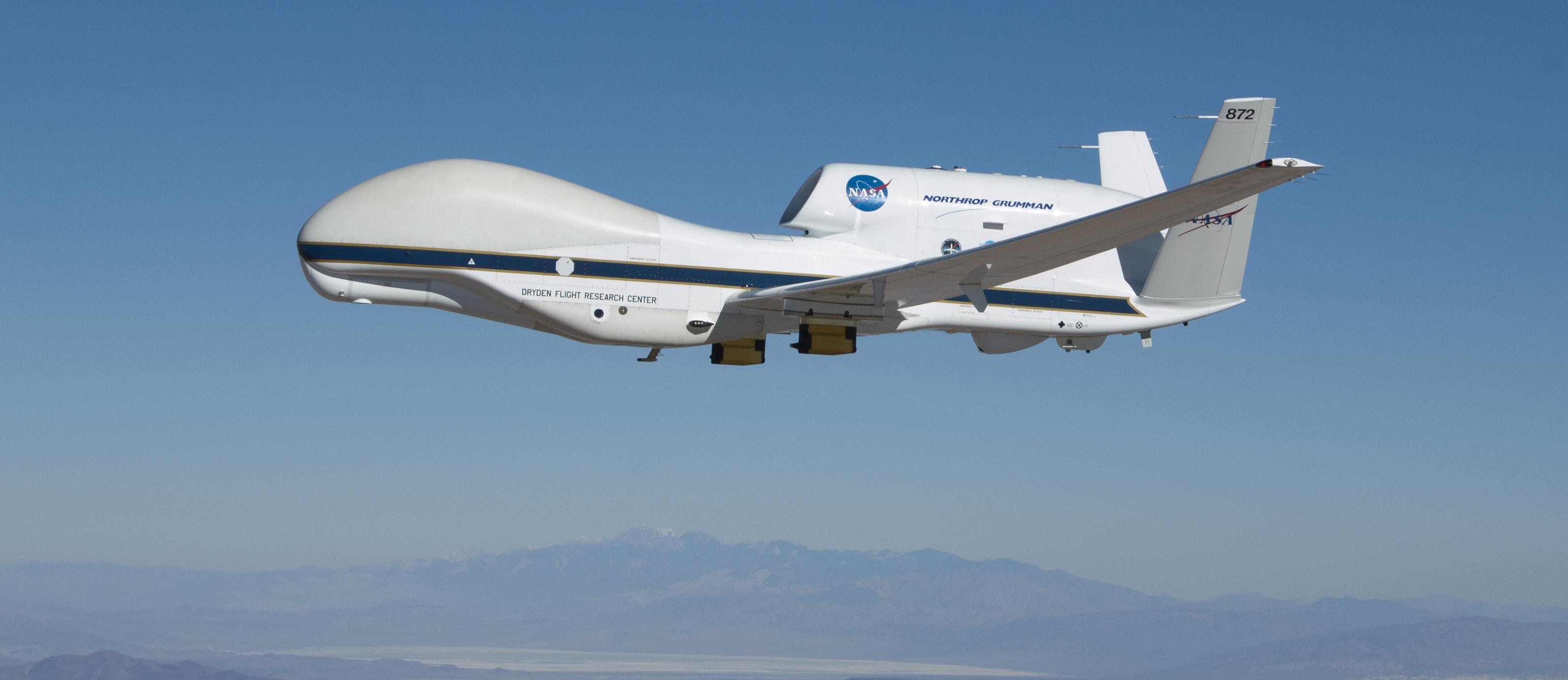 NASA Global Hawk 872 carries the Hawkeye sensors on wing-mounted    Nasa Global Hawk