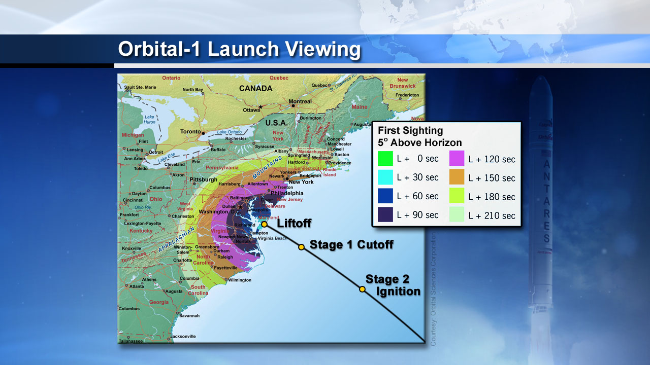 Map of Orbital 1 Launch Viewing Orbital 1 Mission