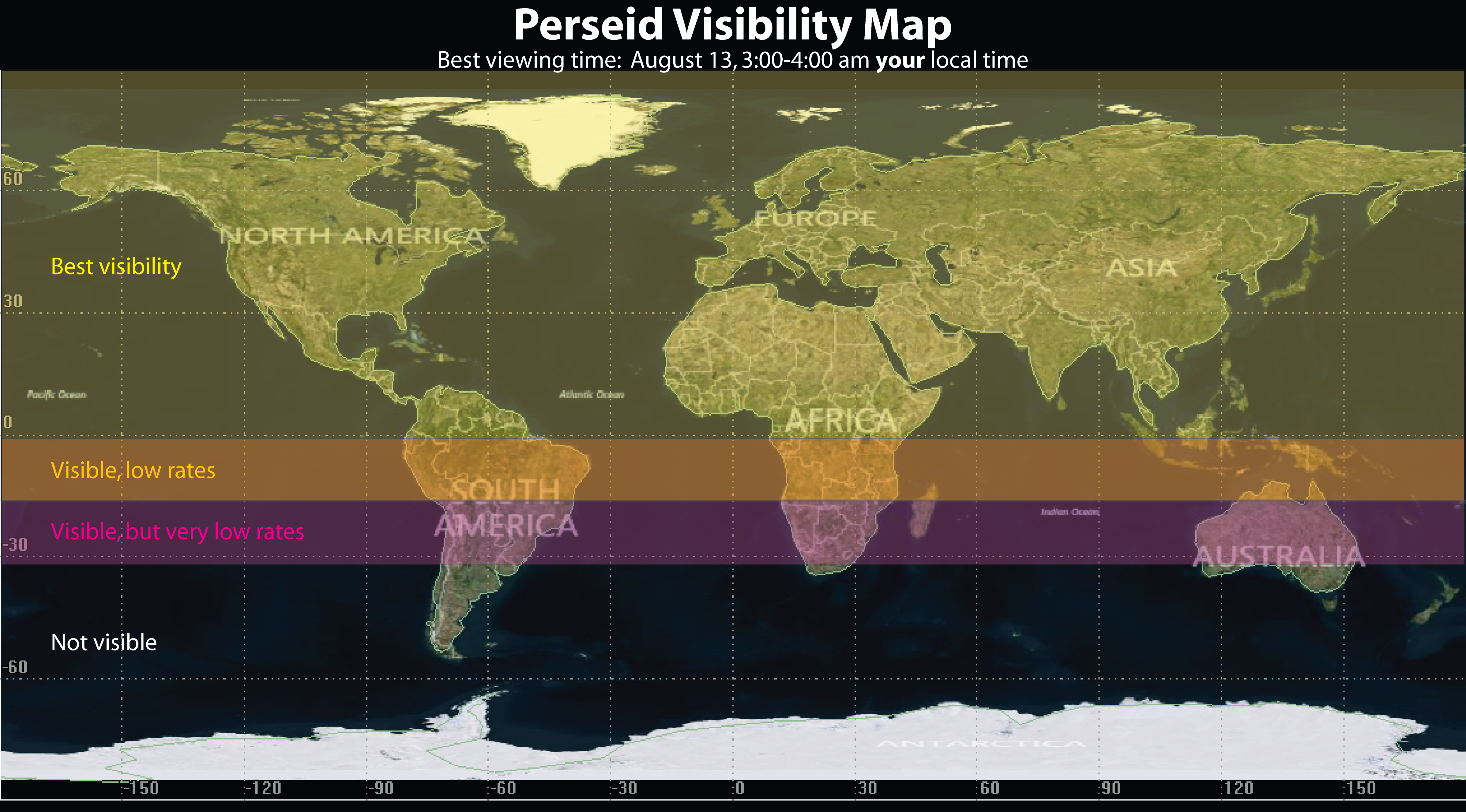 Map of world viewinf for 2014 Perseid meteor shower