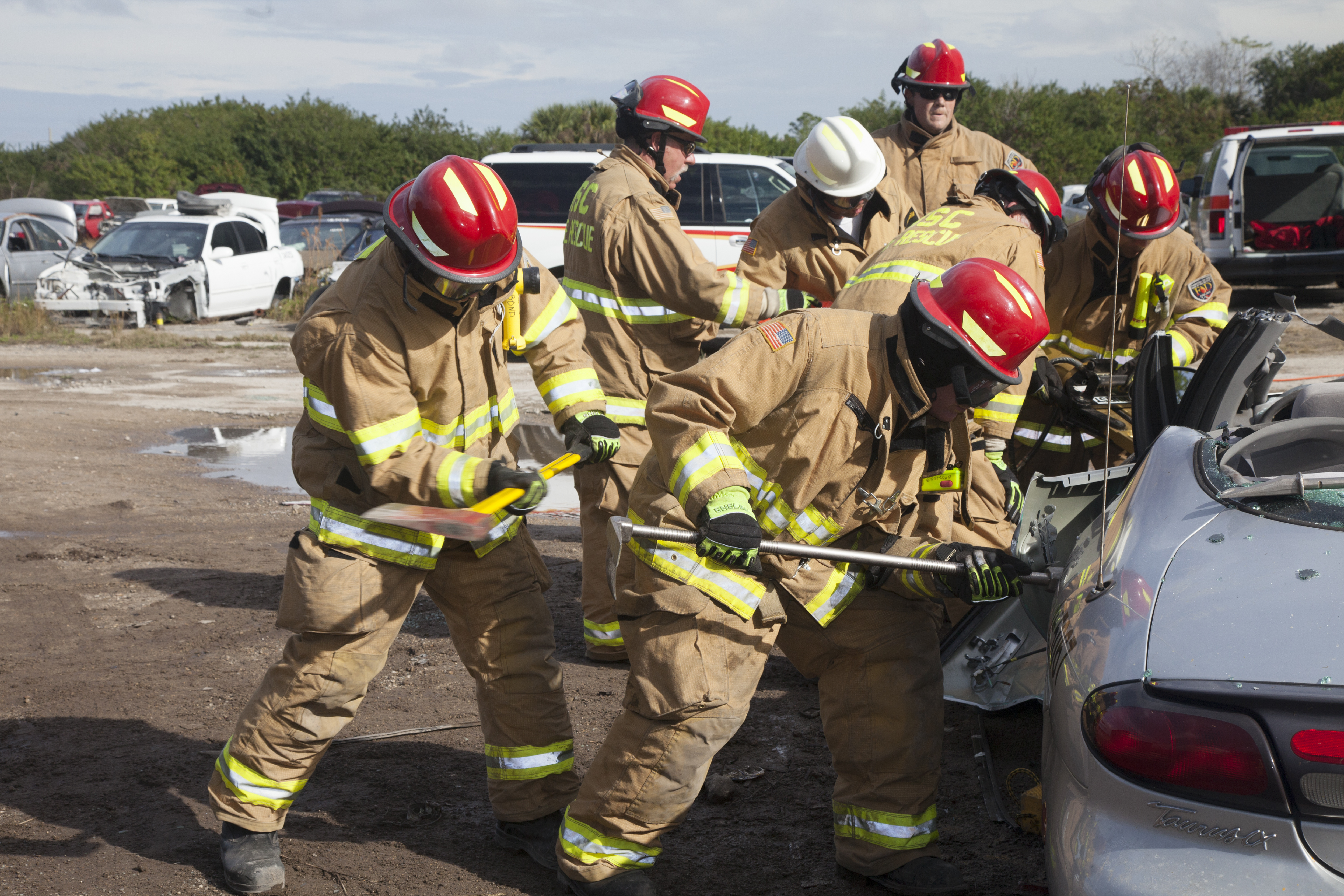 Firefighters Practice Rescue Operations With Jaws Of Life