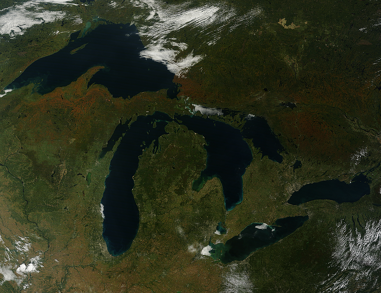 Fall Colors Arriving NASA - North america satellite image