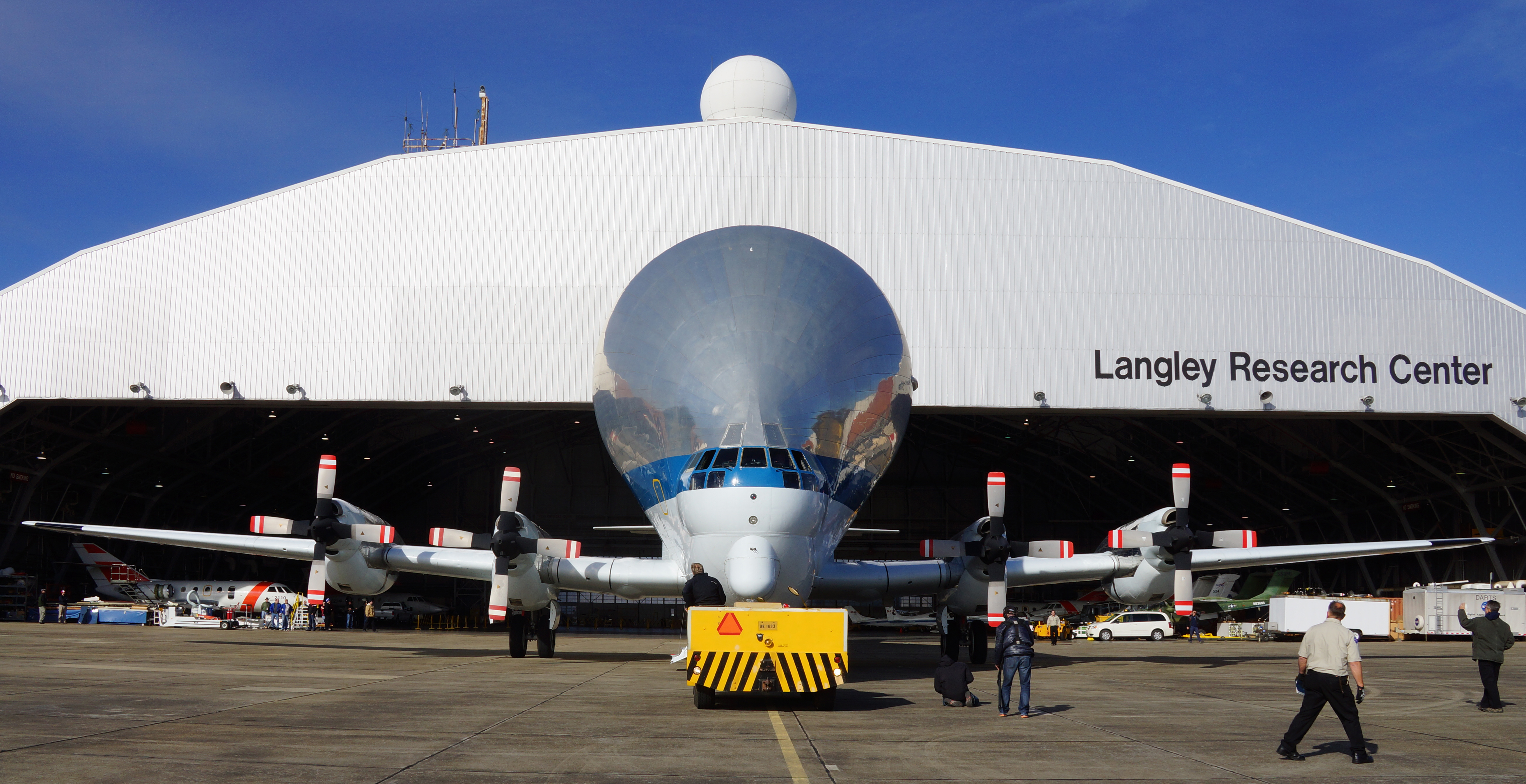 Nasa super guppy plane delivers large composite structure for Nasa air study