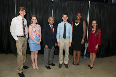 From left are Harper Cox, Grace E. Keys, NASA Administrator Charles Bolden, Michael Volt, Bayleigh Hicks and Maria Torres.