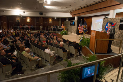 NASA Goddard Space Flight Center Director Christopher Scolese gives the keynote address at the 2013 NASA MSFC Annual Honor Awards ceremonies July 30.