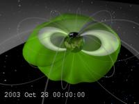 Plasmasphere (green) is blown out to the magnetopause