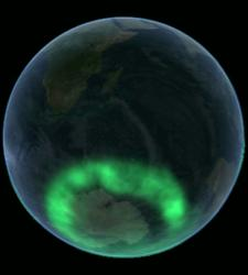 View of aurora australis from space