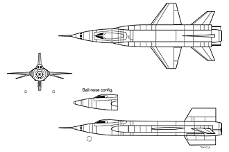 X-15 3-view drawing