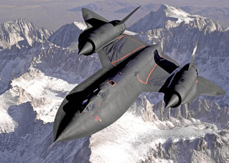SR-71 flying over snowy mountains