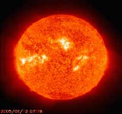 This solar movie is from SOHO, the Solar and Heliospheric Observatory, a NASA and European Space Agency satellite and was taken in February 2005.