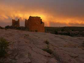 This spectacular sunset was taken during the 2004 summer solstice at Hovenweep National Monument.
