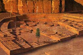 This illustration of Pueblo Bonito, the largest structure in Chaco Canyon, depicts how it may have appeared in the early 1100's A.D.