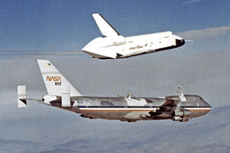 Shuttle Enterprise separates from the 747.
