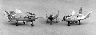 X-24A, M2-F3 and HL-10 on parked on lakebed