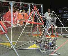 Lancaster High School's robot Mr. Clean, #399, during competition.