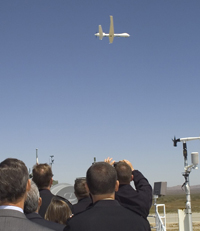 Guests watch flight of General Atomic Altair UAV.