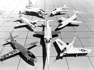 This image on the Dryden (then the NACA High-Speed Flight Research Station) ramp in June 1953 shows, clockwise from left, the Bell X-1A, D-558-1, XF-92A, X-5, D-558-2, X-4 and X-3, center.