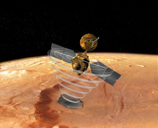 This image is an artist's concept of a view looking down on the Mars Reconnaissance Orbiter.
