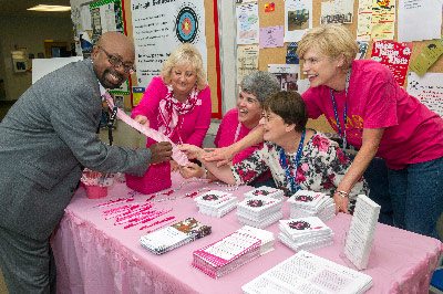 "On Oct. 31, Marshall Space Flight Center team members were encouraged to ""Pink Up MSFC"" to support breast cancer awareness."