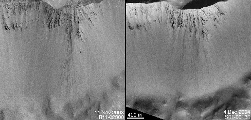 Two MOC images, one from 14 November 2003, the other from 4 December 2004, showing boulder tracks on crater wall; the December 2004 image shows that more than a dozen new tracks formed within the previous year.