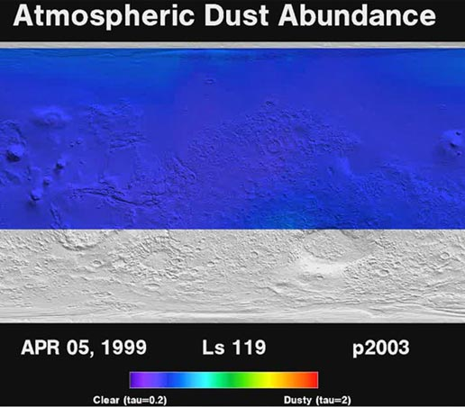 This movie shows the daily abundance of dust in the martian atmosphere over a period of three full martian years, from April 1999 through February 2005.
