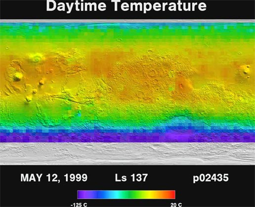 This movie shows the daytime temperature of the surface of Mars as measured by the Thermal Emission Spectrometer instrument on NASA's Mars Global Surveyor orbiter.