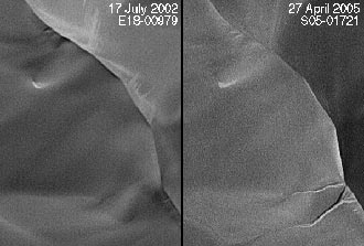 side-by-side orbital images showing formation of new gullies on martian sand dune