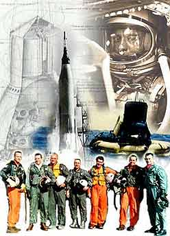 Images from the Mercury program including astronaut in spacesuit, rocket, drawings and Mercury 7 astronauts.