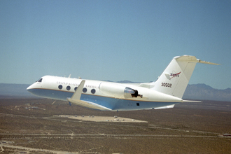 C-20A (Gulfstream III) in flight over NASA Dryden Flight Research Center