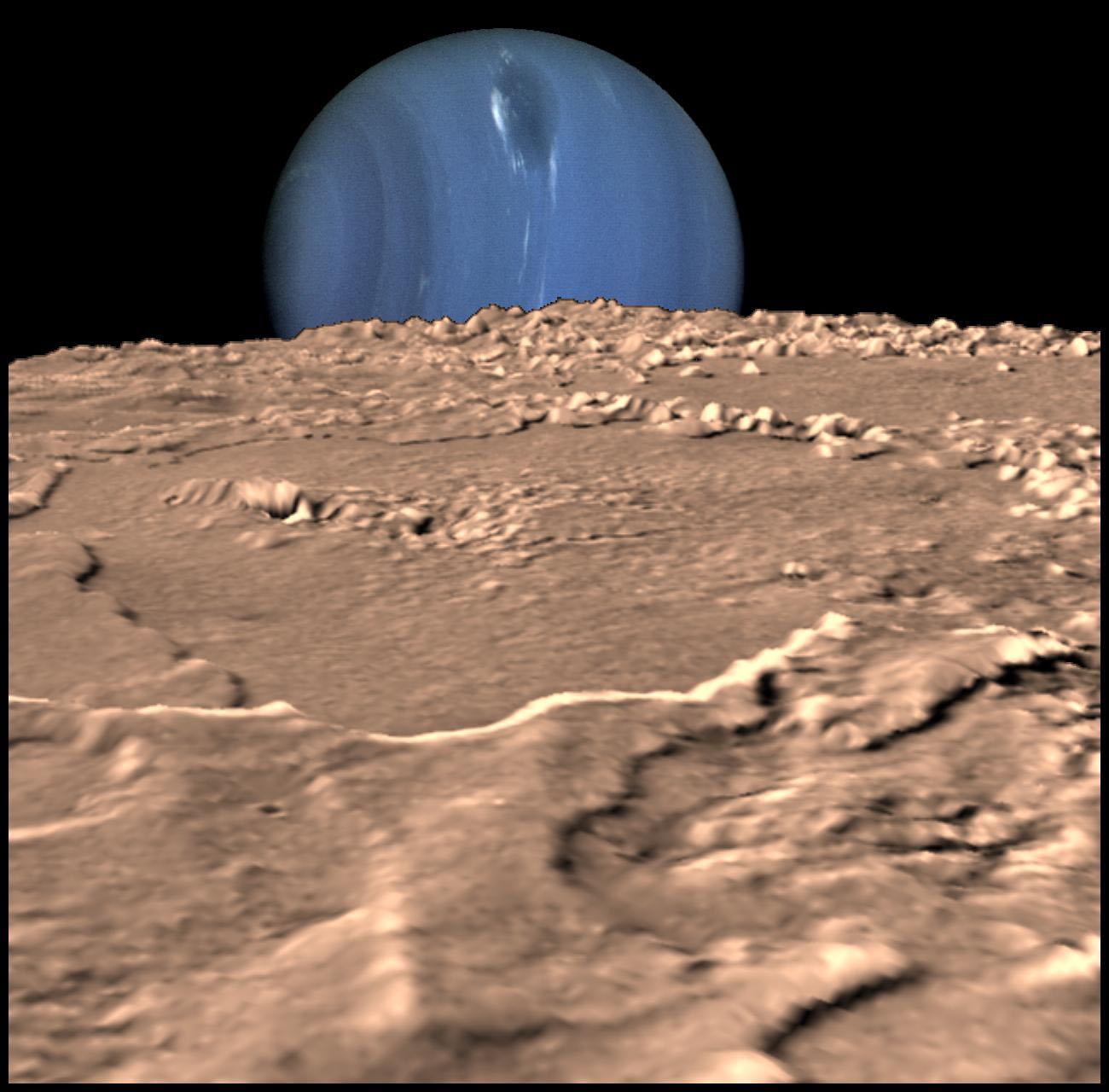 Bu illüstrasyon Triton 'dan Neptün'e bakıldığında nasıl bir görüntü olacağını gösteriyor. Fotoğraf:NASA