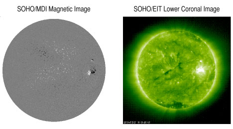 Image of side-by-side MDI magnetogram and EIT image from March 21.