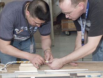 Photo: engineers assemble hardware for test