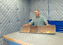 Structural Fabrication Branch Chief Ed Swan at the composite lab's new downdraft table.
