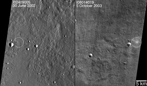 A set of images that shows how the impact site appeared to the Mars Odyssey Thermal Emission Imaging System infrared instrument before and after the impact
