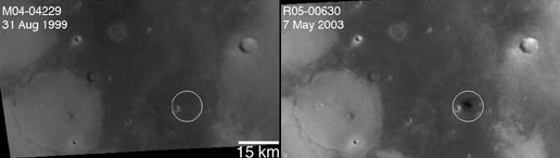Before-and-After view of crater in Arabia Terra. Images taken by the Mars Global Surveyor