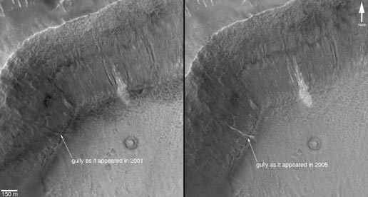 Before-and-after views of a Mars site where a gully flowed. On the left, the site as it appeared in 2001. On the right, the same site in 2005.
