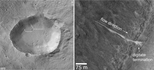 Left figure shows a mosaic of images that cover the entire unnamed crater in Terra Sirenum. Right image shows an enlargement of a portion of another image from August 2005, showing details of the new, light-toned gully deposit