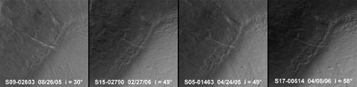 the Mars Orbiter Camera team repeatedly imaged this site throughout 2005 and 2006. Four examples are shown here, acquired in April 2005, August 2005, February 2006 and April 2006.