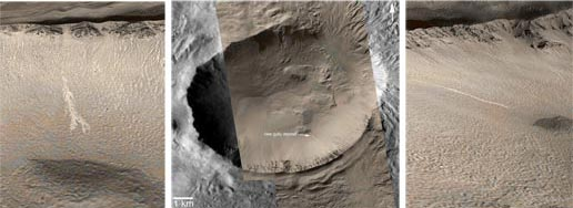 Left image is a colorized view of a gully deposit. The middle image is a mosaic of several Mars Global Surveyor images. The right image is a colorized view of a gully deposit as viewed from an oblique perspective