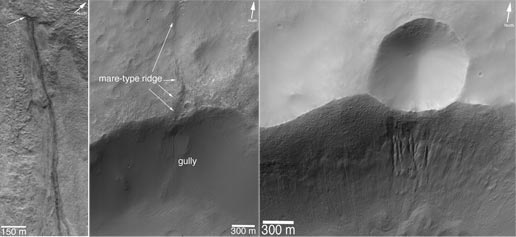 Left image shows a pair of gully channels that emerge. Center image shows a gully that formed on the wall of a crater. Right image shows a small crater on the rim of a larger crater. All images taken by the Mars Global Surveyor