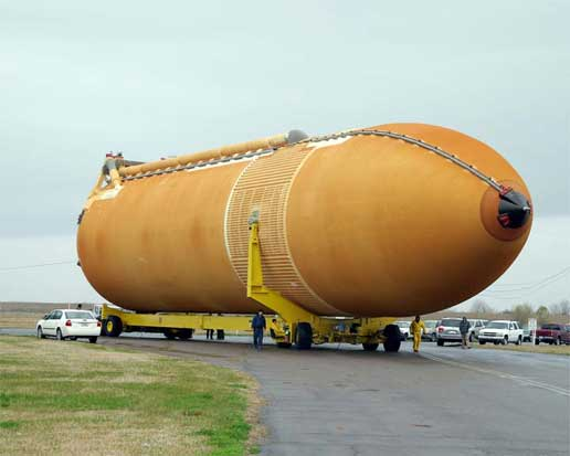 External tank 119 is prepared for its trip from NASA's Michoud Assembly Facility in New Orleans to the Kennedy Space Center in Florida.