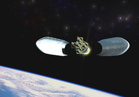 Still from animation showing the deployment of the five THEMIS spacecraft.