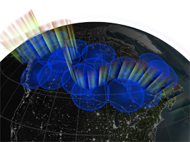 Still from animation showing the THEMIS network of ground stations.