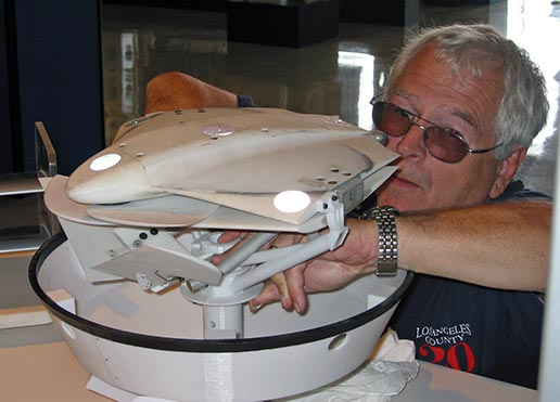 Langley's Larry Cooper unpacks a model of a NASA Mars Airplane concept