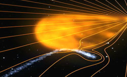 Still image from an animation of Comet Encke.