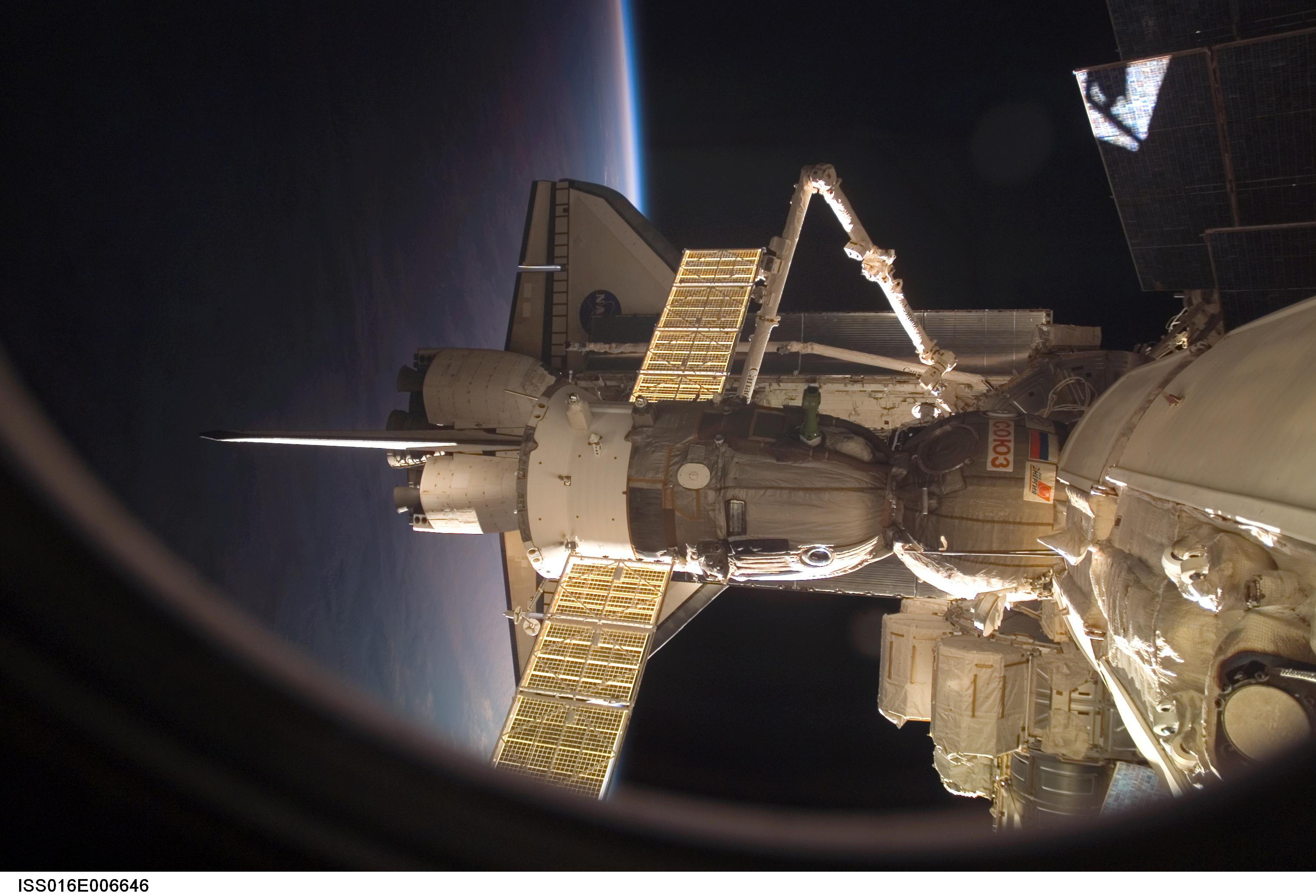 Shuttle and Soyuz docked at the Station